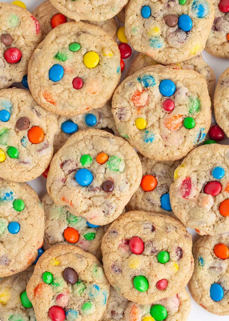 overhead photo of cookies stacked on top of more cookies