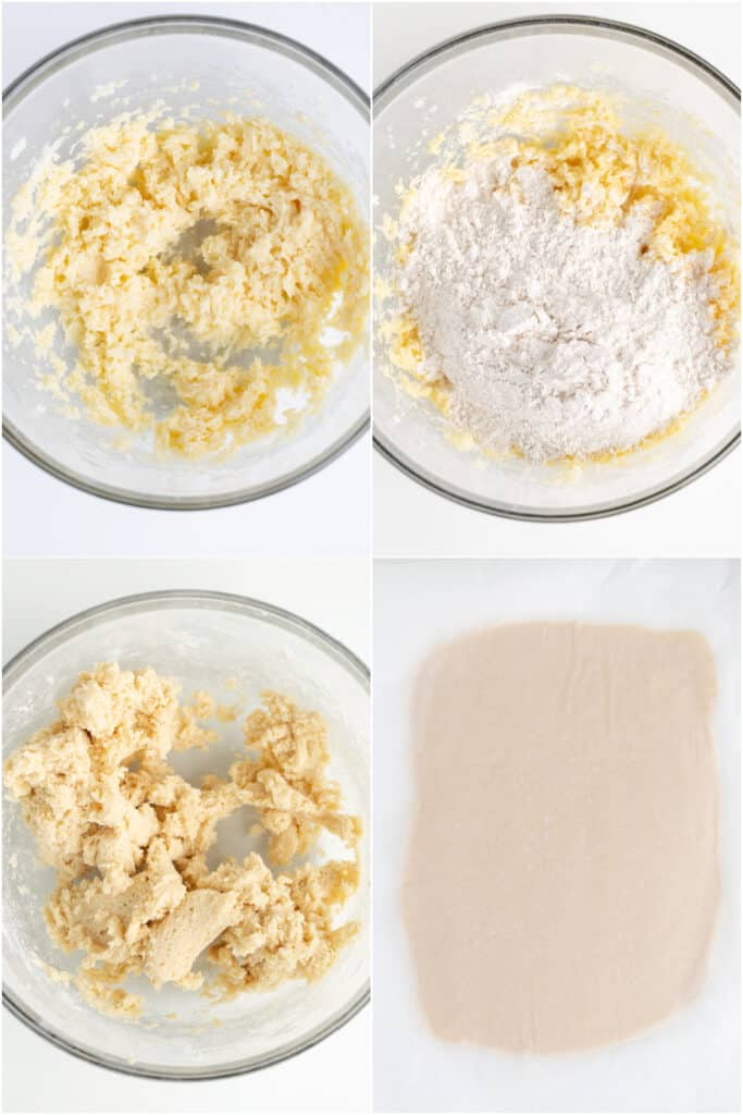 collage showing how to make the cinnamon roll cookie dough and roll it out