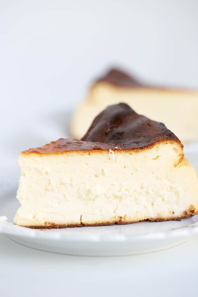 zoomed in photo of cheesecake on a small white plate