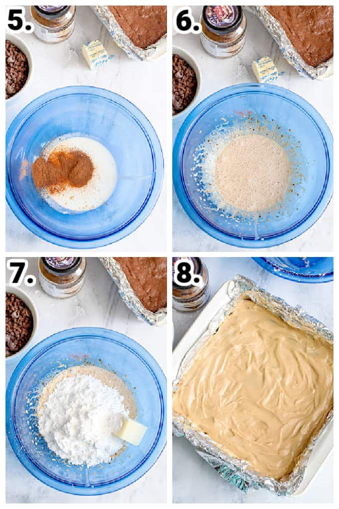 collage showing how to make a coffee frosting layer