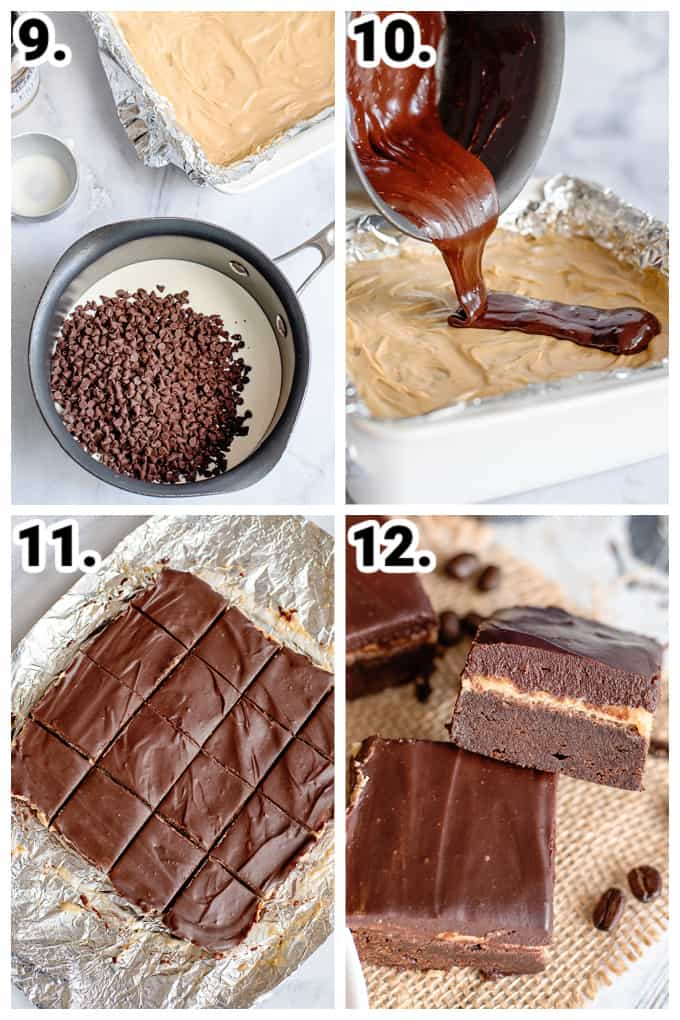 collage showing how to make ganache and adding it to the coffee brownie