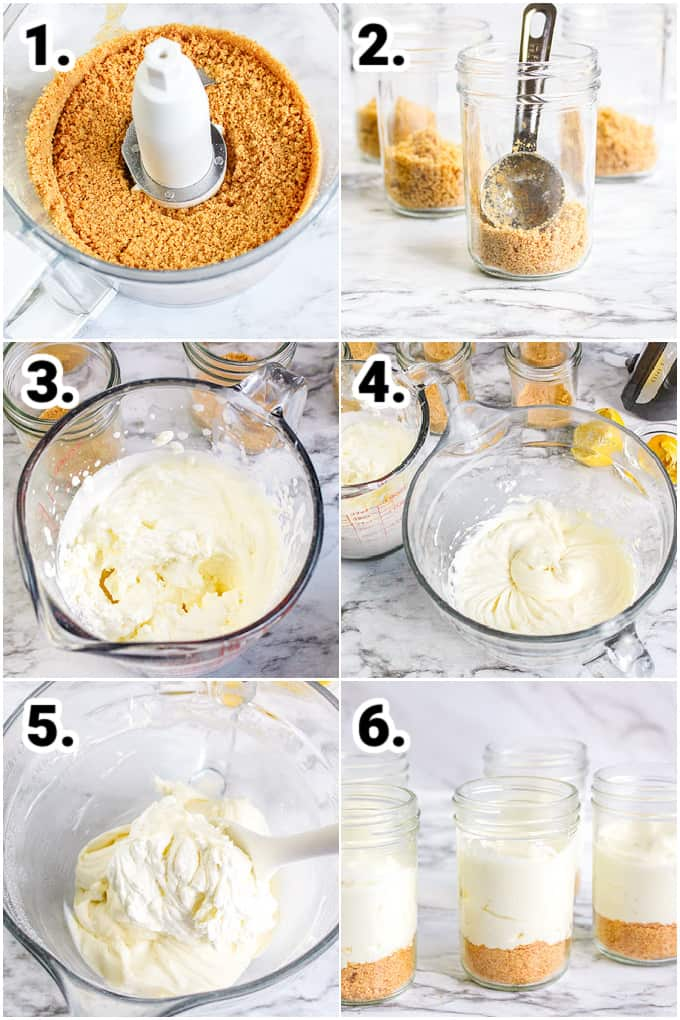 collage showing step by step photos on how to make the cheesecakes in jars