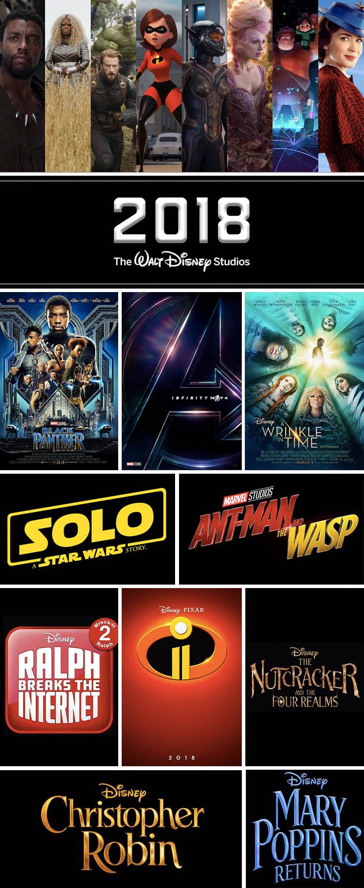 2018 Disney Movies + Marvel, LucasFilm, and Pixar Motion ...