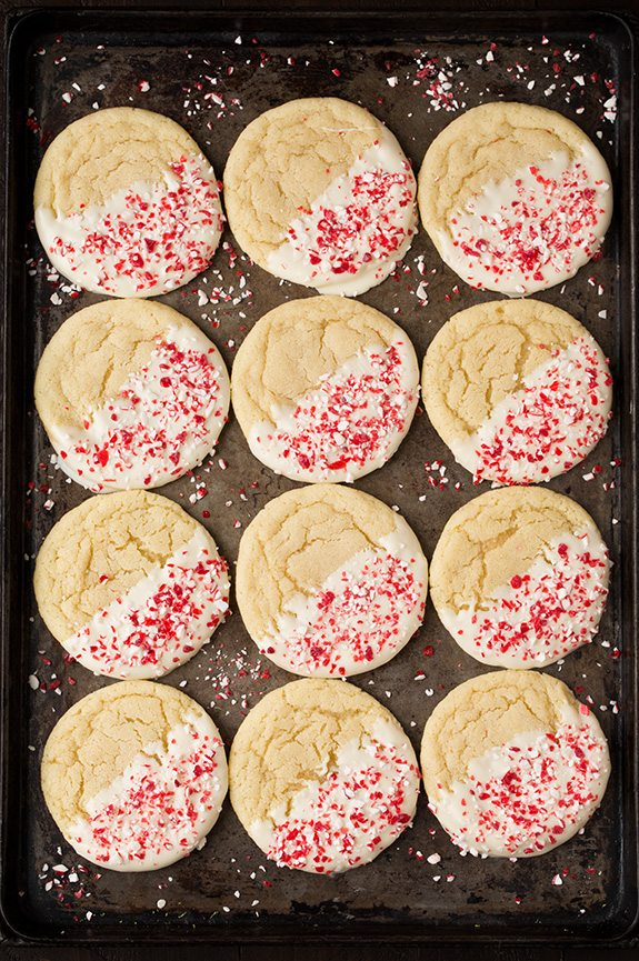 White Chocolate Dipped Peppermint Sugar Cookies Cooking