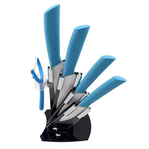 KISKISTONITE Ceramic Kitchen Cutlery Block Knife Sets