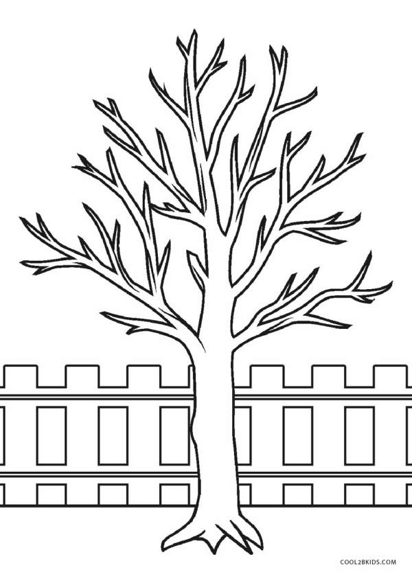 fall tree coloring page # 8
