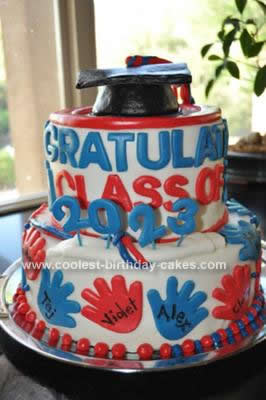 Cool Homemade Red White And Blue Graduation Cake