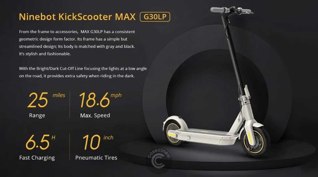 Codice sconto coupon  Ninebot MAX G30LP Electric Scooter