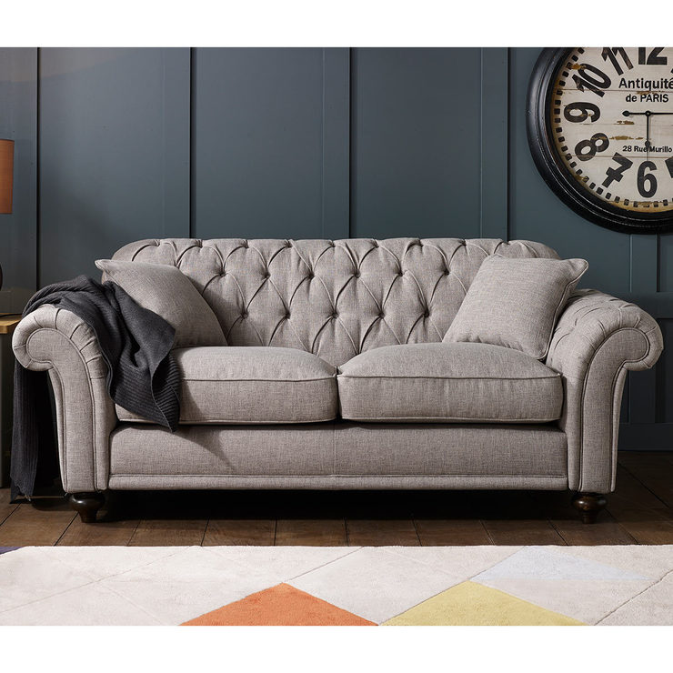 Bordeaux Button Back 2 Seater Grey Fabric Sofa with 2 Accent Pillows     Bordeaux Button Back 2 Seater Grey Fabric Sofa with 2 Accent Pillows