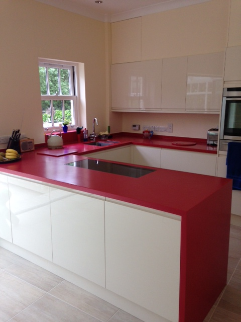 Royal Red Corian 174 Kitchen Counter Production Ltd