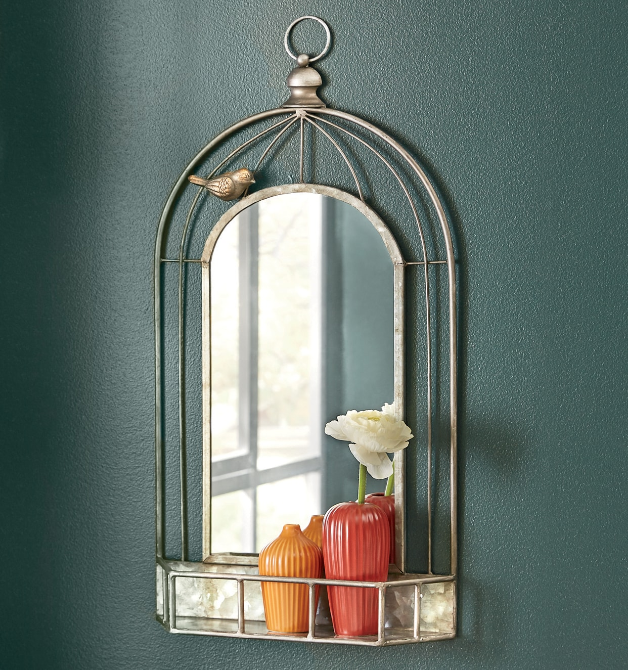 Mirrors   Wall  D    cor  Sets   Country Door Metal Birdcage Wall Mirror