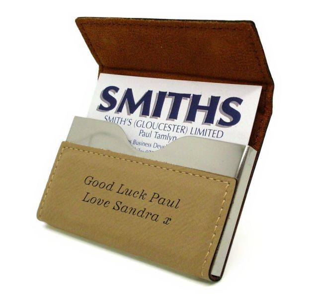 Tan Leatherette Business Card Holder Personalised   County Engraving
