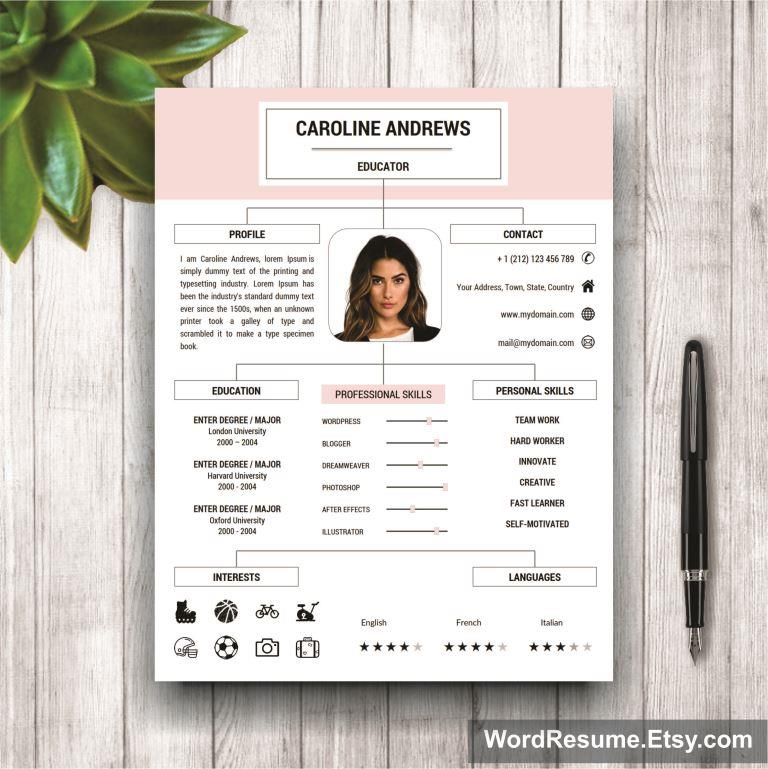 Stylish Resume Template For Ms Word Quot Caroline Andrews