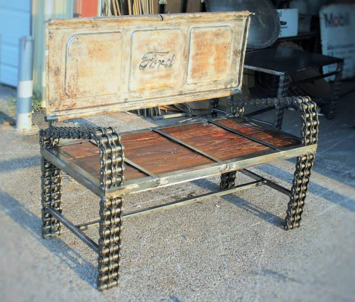 Recycled Car Parts Into Vintage Benches Gift Ideas