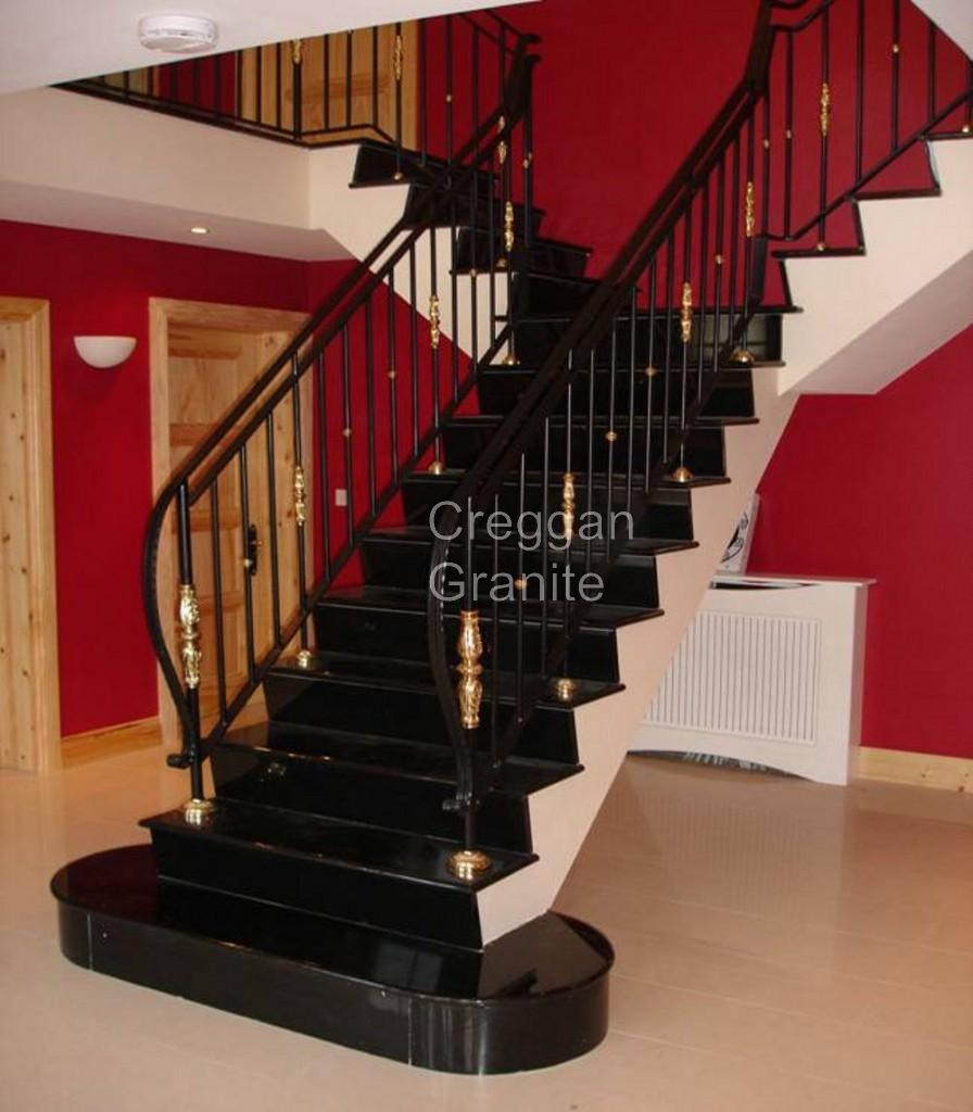 Polished Black Granite Stair Creggan Granite Ireland Creggan | Black Granite Staircase Designs | India Staircase | Contemporary | Italian Marble Step | Double Staircase | Wood Girl