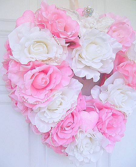 Romantic Valentines Day Pin Rose Wreath Shabby Chic Cherub
