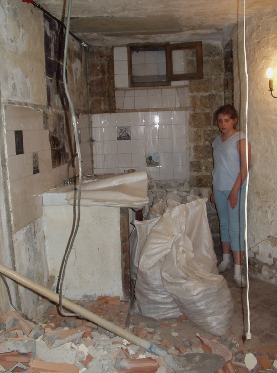 Pictures Of A Parisian Renovation | Opening Up Basement Stairs | Underneath | Landing | Living Room | Wall | Basement Above