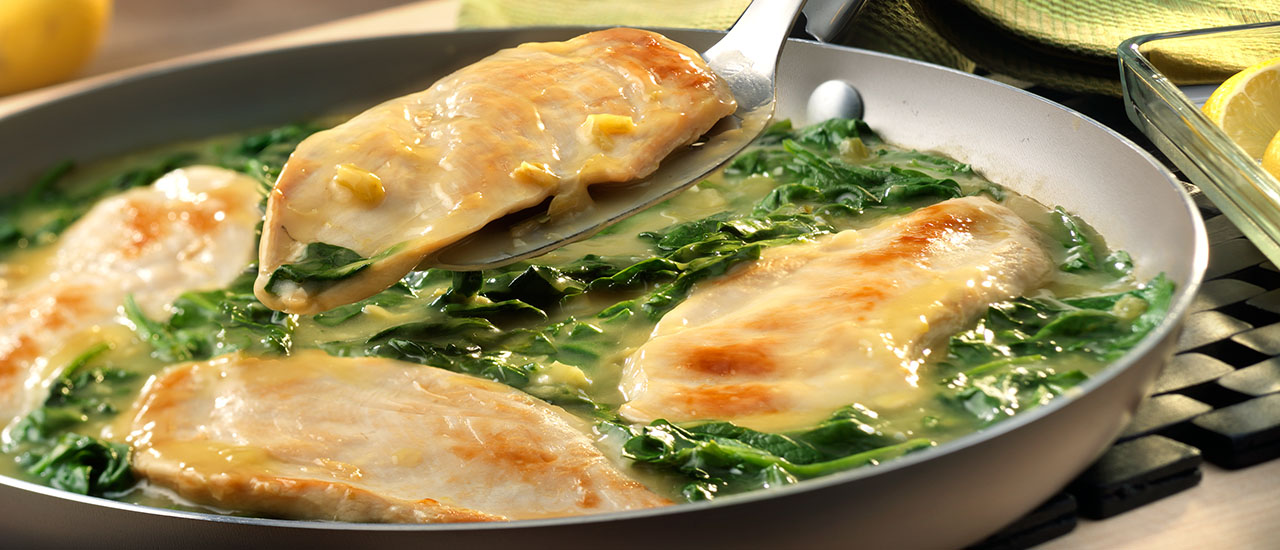 Lemon Chicken Scallopini with Spinach Recipe   Campbell s Kitchen Lemon Chicken Scallopini with Spinach