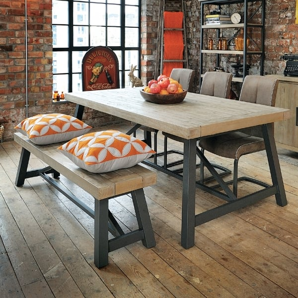 Industrial Dining Reclaimed Table Bench Chairs