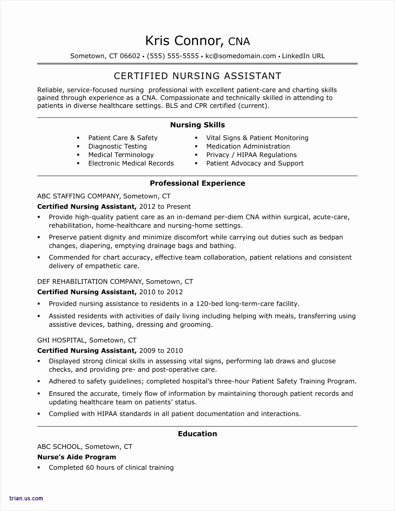 6 Sample Resume Nursing Assistant Xqpcrn Free Samples