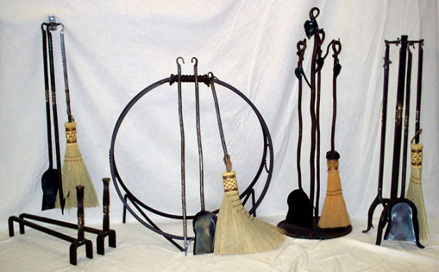 Hand Forged Wrought Iron Fireplace   Woodstove Tool Sets and     Hand Forged Wrought Iron Fireplace   Woodstove Tool Sets and Accessories by  Custom Design Metal Arts