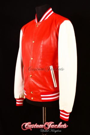 Men's VARSITY BASEBALL Red with White Sleeve Full All Real Lambskin Leather Jacket