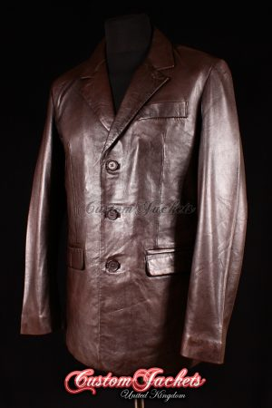 Men's SMART Brown Nappa Lambskin 3 Button Real Genuine Leather Blazer