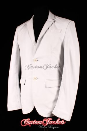 Men's MILANO White Napa Lambskin 2 Button Real Genuine Leather Italian Blazer