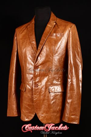 Men's MILANO Tan Glazed Lambskin 2 Button Real Genuine Leather Italian Blazer
