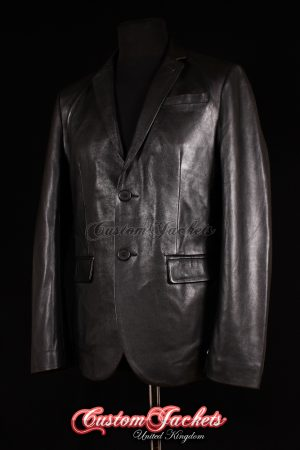 Men's MILANO Black Napa Lambskin 2 Button Real Genuine Leather Italian Blazer