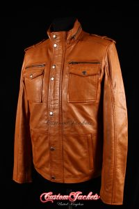 Men's BANDIT Tan Washed Lambskin Real Genuine Soft Leather Trucker Style Shirt Jacket