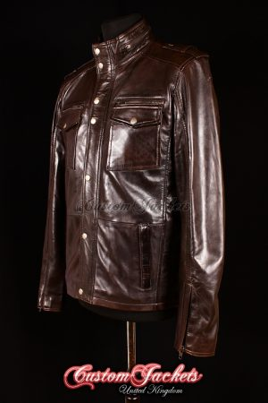 Men's BANDIT Brown Washed Lambskin Real Genuine Leather Shirt Style Jacket