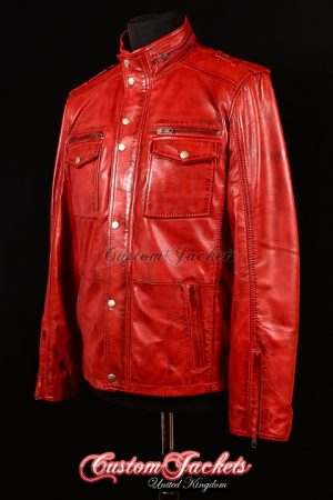 Men's BANDIT Red Washed Lambskin Real Genuine Leather Motorcycle Shirt Style Jacket