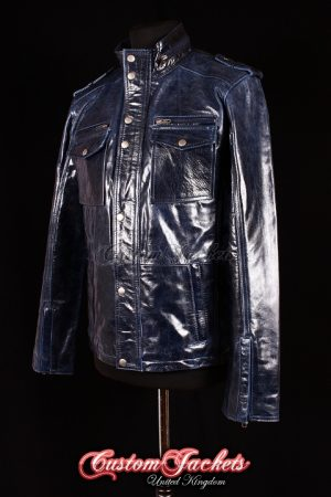 Men's BANDIT Blue Glazed Lambskin Real Genuine Leather Biker Shirt Style Jacket