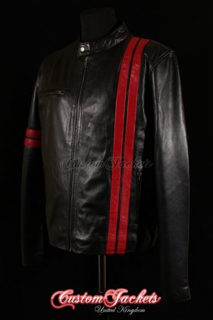 Men's DRIVER Black with Red Stripes Lambskin Real Leather San Francisco Game Cosplay Jacket