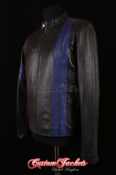 Men's DRIVER Black with Blue Stripes Lambskin Real Leather San Francisco Game Cosplay Jacket