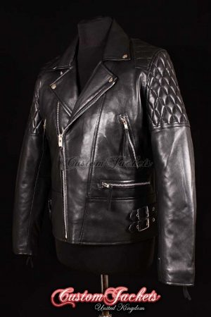 Men's HIGHWAY Black Lambskin Motorcycle Motorbike Cruiser Biker Real Soft Leather Jacket