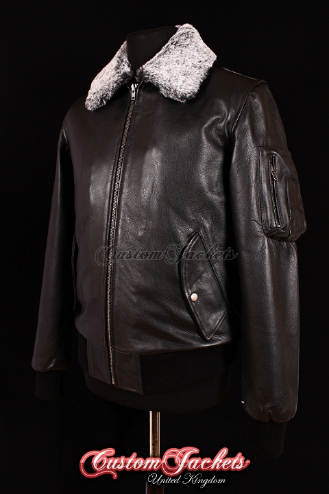 Men's B52 AVIATOR Black Cowhide Classic Fur Collar Bomber Air Force Real Leather Jacket