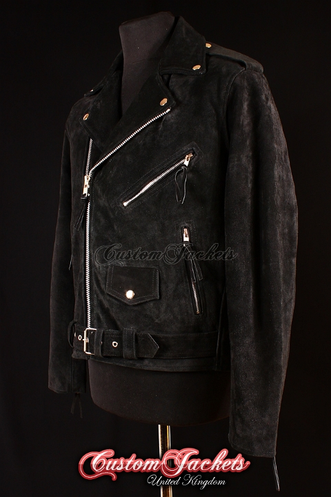 Men's BRANDO Black All Suede Real Cowhide Leather Motorcycle Motorbike Biker Jacket