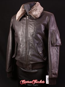 Men's B52 AVIATOR Brown Waxed Skipper Cowhide Fur Collar Bomber Real Leather Jacket