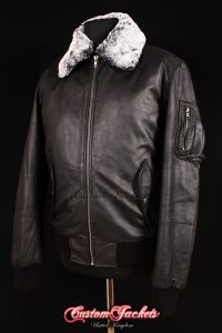 Men's B52 AVIATOR Black Waxed Skipper Cowhide Fur Collar Bomber Real Leather Jacket