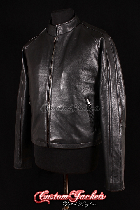 Men's JACK REACHER Black Cowhide Real Leather Tom Cruise Movie Film Style Jacket