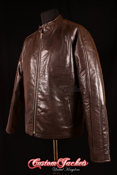 Men's JACK REACHER Brown Glazed Cowhide Leather Tom Cruise Movie Film Style Jacket