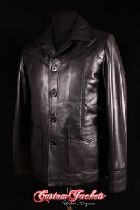 Men's KILLING THEM SOFTLY Black Lambskin Real Leather Brad Pitt Movie Film Jacket