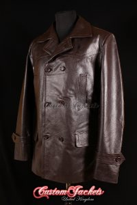 Men's KRIEGSMARINE Brown Cowhide Leather WW2 German U-Boat Pea Coat Jacket