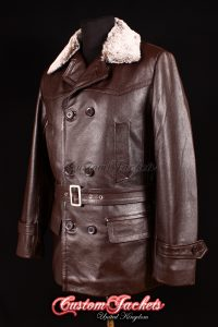 Men's KRIEGSMARINE FUR COLLAR Brown Cowhide Leather WW2 German U-Boat Jacket Coat