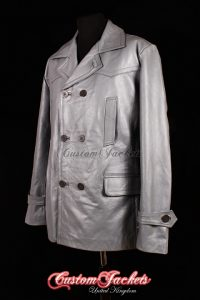 Men's KRIEGSMARINE Grey Cowhide Leather WW2 German U-Boat Pea Coat Jacket