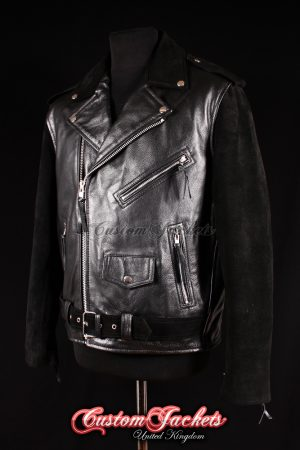 Men's BRANDO Black Suede & Cowhide Real Leather Motorcycle Motorbike Biker Jacket