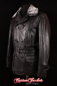 Men's KRIEGSMARINE FUR COLLAR Black Cowhide Leather WW2 German U-Boat Jacket Coat