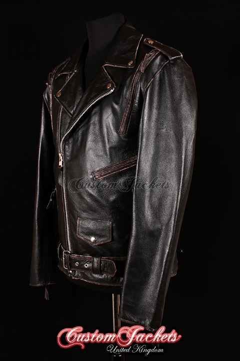Men's BRANDO LIVE TO RIDE EAGLE Black Worn Edge Cowhide Leather Motorcycle Cruiser Biker Jacket